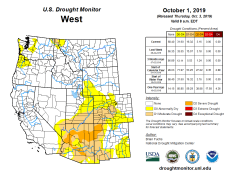 West Drought Monitor October 1, 2019.