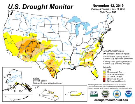 US Drought Monitor November 12, 2019.