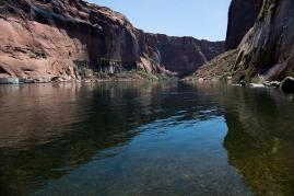 Looking downstream at the Colorado River from Glen Canyon Dam tailrace. (Source: Bureau of Reclamation)
