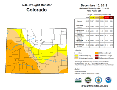 Colorado Drought Monitor December 10, 2019.