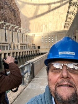 Coyote Gulch on the Arizona power plant deck in a borrowed hard hat.