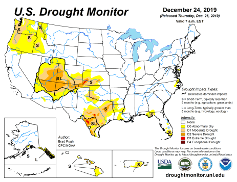 US Drought Monitor December 24, 2019.