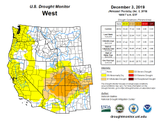 West Drought Monitor December 3, 2019.