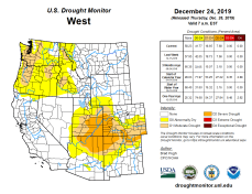 West Drought Monitor December 24, 2019.