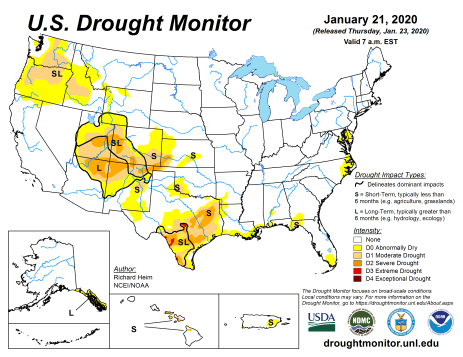 US Drought Monitor January 21, 2020.