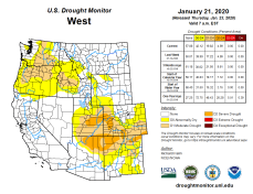 West Drought Monitor January 21, 2020.