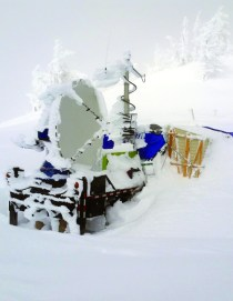 Scientists used the Doppler on Wheels radar to measure snowfall in the Idaho mountains that was generated by cloud seeding during the SNOWIE field project. Photo by Joshua Aikins via NCAR