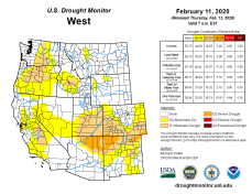 West Drought Monitor February 11, 2020.