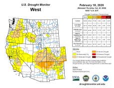 West Drought Monitor February 18, 2020.