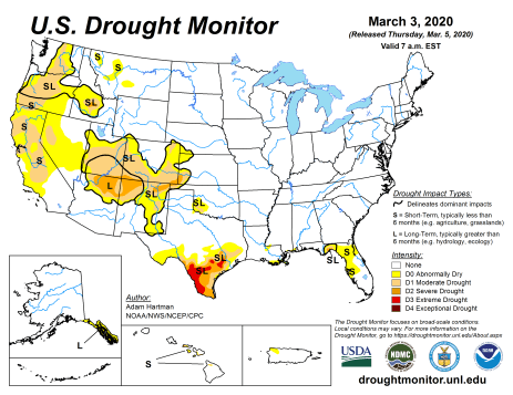 US Drought Monitor March 3, 2020.