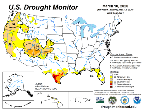 US Drought Monitor March 10, 2020.