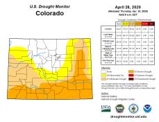 Colorado Drought Monitor April 28, 2020.