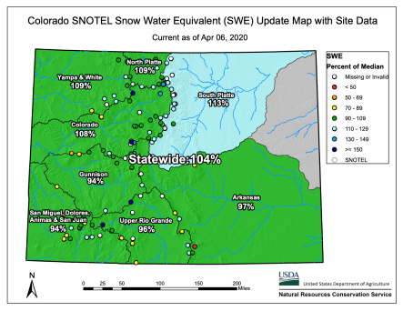 Colorado snowpack basin-filled map April 6, 2020 via the NRCS.