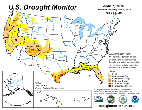 US Drought Monitor April 7, 2020.