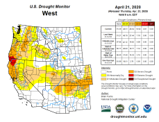 West Drought Monitor April 21. 2020.