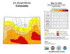 Colorado Drought Monitor May 12, 2020.