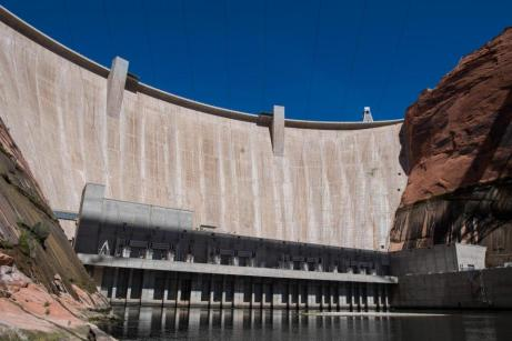 At 710 feet, Glen Canyon Dam is the second highest concrete-arch dam in the United States. (Source: U.S. Bureau of Reclamation via the Water Education Foundation)