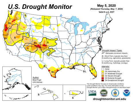 US Drought Monitor May 5, 2020.