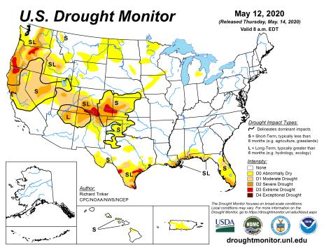 US Drought Monitor May 12, 2020.
