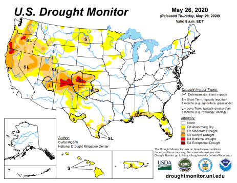 US Drought Monitor May 26, 2020.
