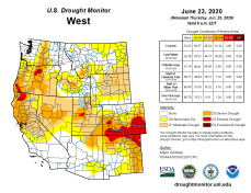 West Drought Monitor June 23, 2020.