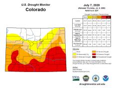 Colorado Drought Monitor July 7, 2020.