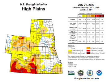 High Plains Drought Monitor July 21, 2020.