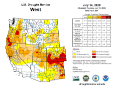 West Drought Monitor July 14, 2020.
