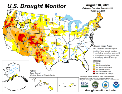 US Drought Monitor August 18, 2020.