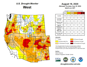 West Drought Monitor August 18, 2020.