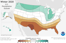 This 2020-2021 U.S. Winter Outlook map for precipitation shows wetter-than-average weather is most likely across the Northern Tier of the U.S. and drier-than-average weather is favored across the South. (NOAA Climate.gov, using NWS CPC data)
