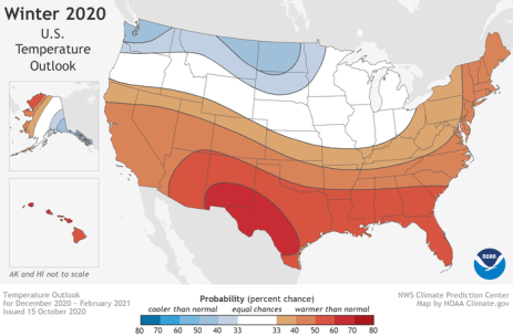 This U.S. Winter Outlook 2020-2021 map for temperature shows above-average temperatures are likely in the South and below-average temperatures likely in parts of the North. (NOAA Climate.gov, using NWS CPC data)