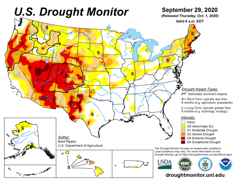 US Drought Monitor September 29, 2020.