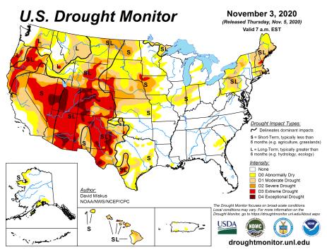 US Drought Monitor November 3, 2020.