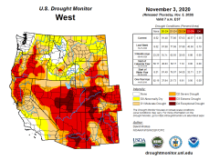 West Drought Monitor November 3, 2020.