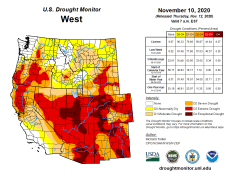 West Drought Monitor November 10, 2020.