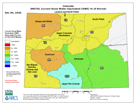Colorado snowpack basin-filled map December 4, 2020 via the NRCS.