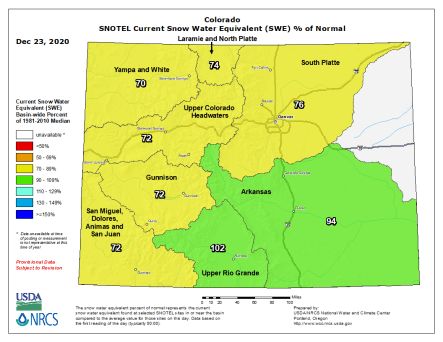 Colorado snowpack basin-filled map December 23, 2020 via the NRCS.