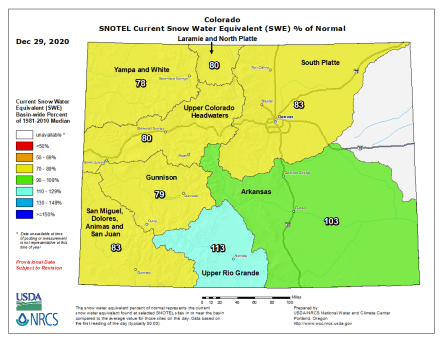 Colorado snowpack basin-filled map December 29, 2020 via the NRCS.