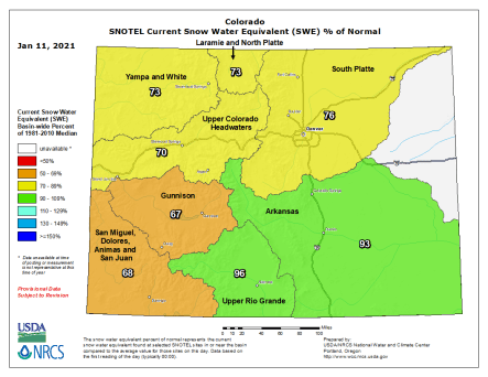 Colorado snowpack basin-filled map January 11, 2021 via the NRCS.