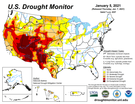 US Drought Monitor January 5, 2021.