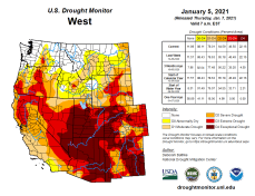 West Drought Monitor January 5, 2021 showing Extreme to Exceptional Drought covering an extensive area of the Colorado River and Great Basins.