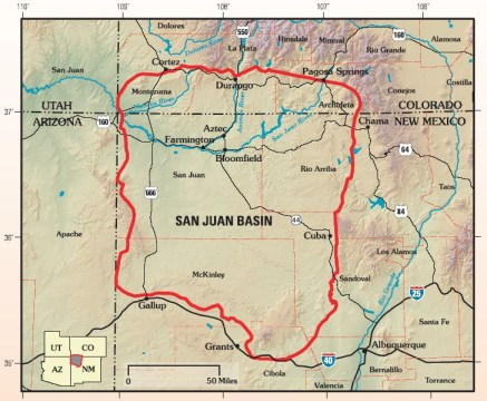 The San Juan structural basin is primarily in New Mexico and the southeast corner of the Colorado Plateau. By US Geological Survey - Assessment of Undiscovered Oil and Gas Resources of the San Juan Basin Province of New Mexico and Colorado, 2002, USGS Fact Sheet FS-147-02, Public Domain, https://commons.wikimedia.org/w/index.php?curid=5749904