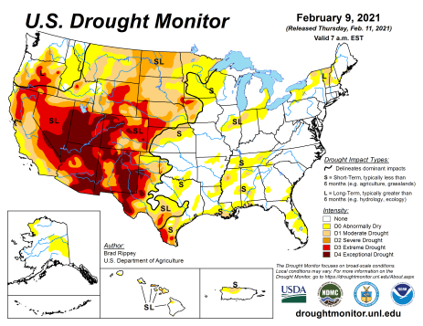 US Drought Monitor February 9, 2021.