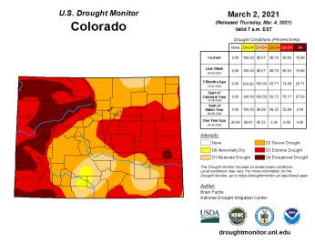 Colorado Drought Monitor March 2, 2021.