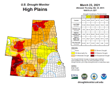 High Plains Drought Monitor March 23, 2021.