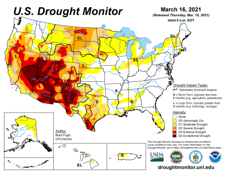 US Drought Monitor March 16, 2021.