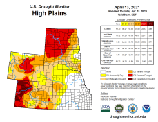High Plains Drought Monitor April 13, 2021.