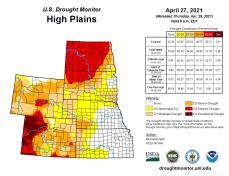 High Plains Drought Monitor April 27, 2021.