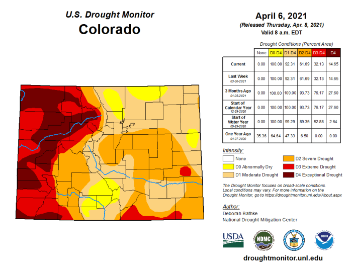 Colorado Drought Monitor April 6, 2021.